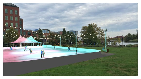 An artist's rendering of the outdoor Riverfront Rink in Wilmington, which opens this weekend.