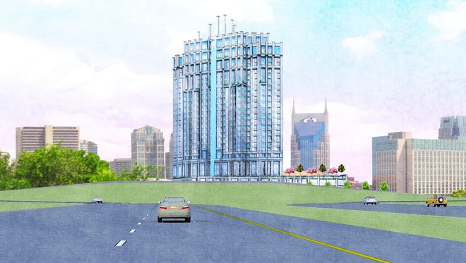 A rendering of the Crescendo high-rise apartment tower proposed for Division Street.