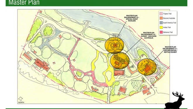 The master plan for the Salisbury Zoo shows three areas marked or expansion.
