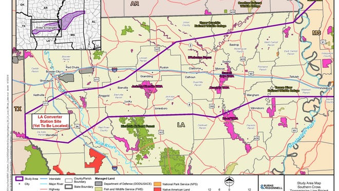 The area between the two purple lines represents the initial study corridor for the proposed Southern Cross Transmission line to move power from Texas and across Louisiana.