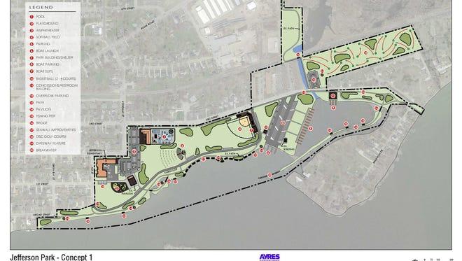 Concept 1 for Jefferson Park in Menasha.