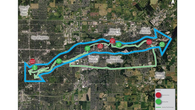 This map of the Fox River Greenway/Park Corridor concept stretches from Appleton to Kaukauna.