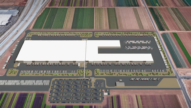 A rendering of the new UPS facility that will be built in Goodyear along the Loop 303