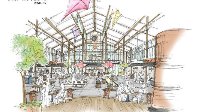 Concept renderings of the new Reno Public Market, formerly Shoppers Square.