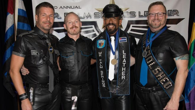 The final four vying for Mr. Palm Springs Leather 2018 on Oct. 28 were (left to right) Tom Schneck, Dan Carman, Jax Kelly and Tony Dewain.