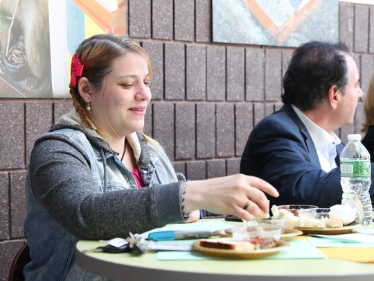 Journal News/lohud.com reporter Rochel Goldblatt judges a Challah and Dip bake-off at Rockland Community College in Suffern on Tuesday, April 24, 2018.