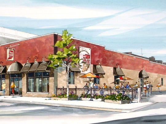 Renderings for an outdoor patio at TwoDEEP Brewing Co. in Indianapolis.