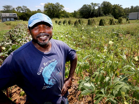 William Owens stands in the Journey Home garden surrounded by okra plants on Barfield Road, on Thursday, Sept. 8, 2016, where he has been working since July.