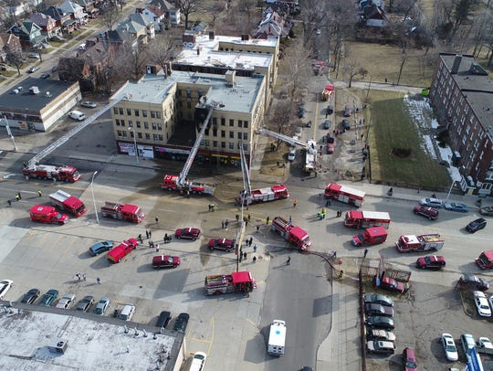 More than 10 fire trucks and five ambulances are on