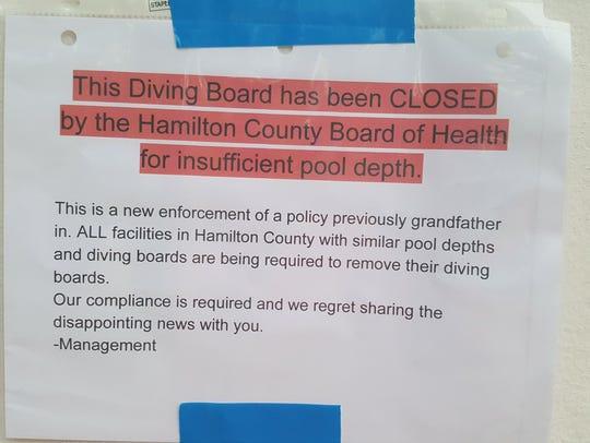 The sign at Oak Hills Swim Club, one of three pools