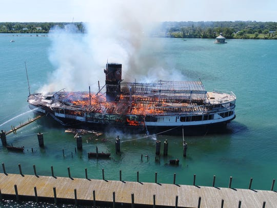 The SS Ste. Claire one of two former Boblo boat burns