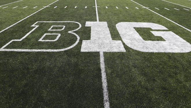 The Big Ten logo is displayed on the field at Iowa's Kinnick Stadium before a college football game between Iowa and Miami University last August. The conference on Tuesday pulled the plug on the 2020 season because of the coronavirus pandemic.