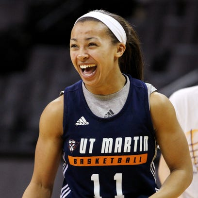 UTM's Heather Butler laughs during practice for an