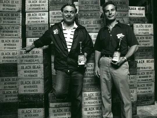 Phil and Leonard Caruso at Black Bear Bottling in 1992.