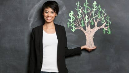 Asian woman and chalk money tree drawing on blackboard.
