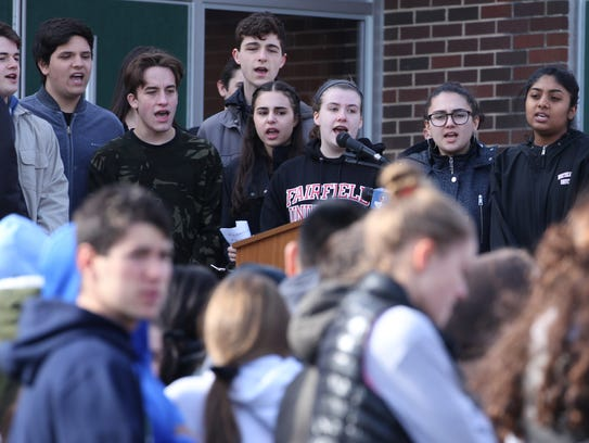The Troubadours sing the National Anthem at Clarkstown