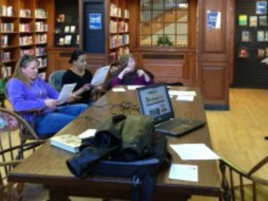 Talking blogs at Martin Library. (Twitter photo by Brittany Wilson)
