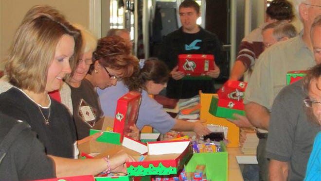 Volunteers for Operation Christmas Child.