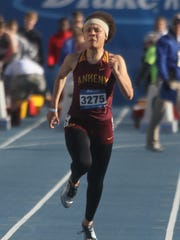 Ankeny senior Mikayla Sidney runs in a 100-meter dash