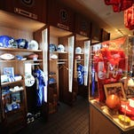 """The Indianapolis Colts """"Room to Remember"""", a private room filled with Colts team memorabilia and historical items. Jon Scott, Vice President of Equipment Operations, played a huge roll in acquiring and displaying the items in the room."""