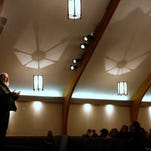 Jason Nightingale talks about the Apostle Paul during his talk at  Bethany Baptist Church on March 28.