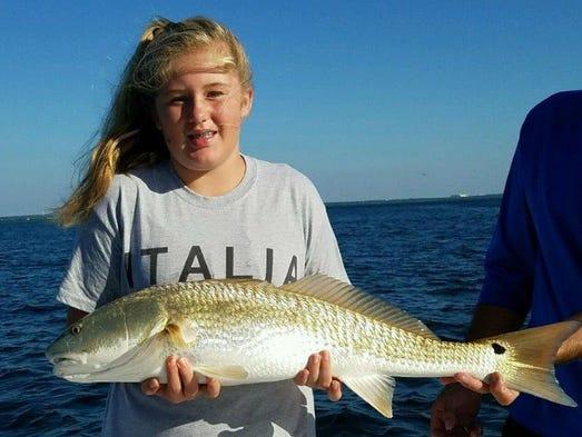 Fifth-grader Gracen Mondelli, 10, of Franklin caught
