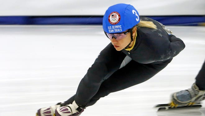 Jessica Kooreman competes in the women's 1000-meter during the U.S.Olympic short track speedskating trials Dec. 17, 2017.