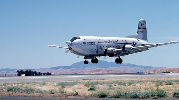 C-124C 52–1000 making its last landing at Travis Air Force Base, 10 June 10, 1984. The aircraft remains on display at the base's Jimmy Doolittle Air & Space Museum.