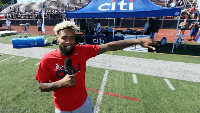 Giants star wide receiver Odell Beckham Jr. talks to campers during his inaugural football camp at Boonton High School open to boys and girls grades 1-8. July 26, 2016, Boonton, NJ
