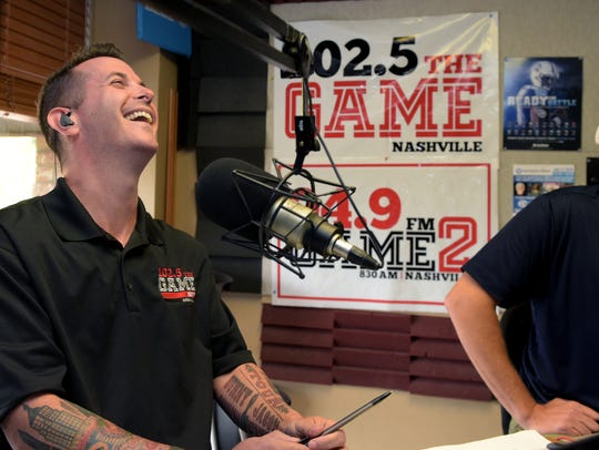 102.5 The Game morning show host Jason Fitz laughs