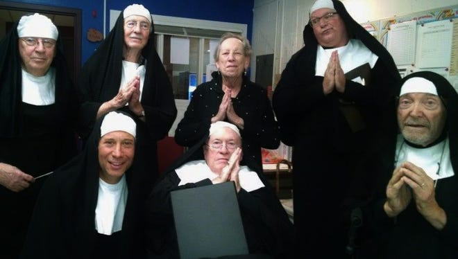 ":Six local men in habits singing ""Nunsense"" music form one of three clever short musical shows directed by June Braverman for the benefit of area charities.  In the front row, from left, are Jason Friedman, Joe Brisben and Dr. Dick Caplan.  Standing, from left, are Bob Elliott, Hank Madden, Braverman and Larry Newman."