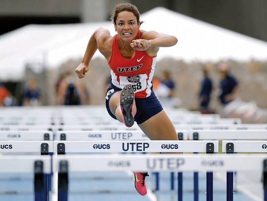 MARK LAMBIE—EL PASO TIMES  UTEP's Jallycia Pearson competes in the Heptathlon Wednesday to kick off the Conference USA Outdoor Championships at UTEP's Kidd Field.