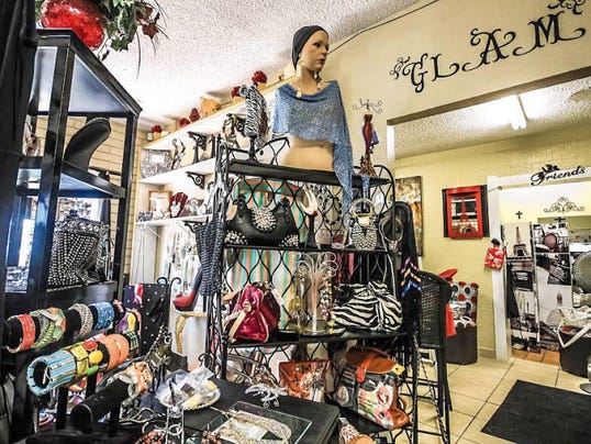 Photo by Jeremy Perlman for the Sun-NewsPurses, bracelets, and jewelry are just a few of the many fashion items offered at Southern Glam Women's Boutique, 1453 E. Amador Ave., Ste. B.