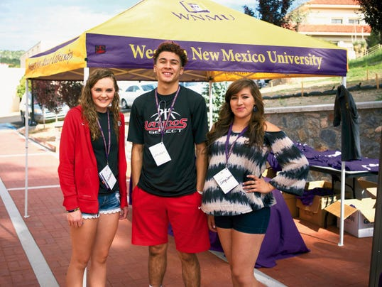 Courtesy Photo   From left are, Kaitlyn Pierson, Jordan Enriquez and Carolyn Castillo, scholarship recipients who are attending New Student Orientation at Western New Mexico University in Silver City.