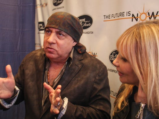 Maureen and Steven Van Zandt after  a press conference announcing plans for the $20 million expansion of Red Bank's historic Count Basie Theatre.