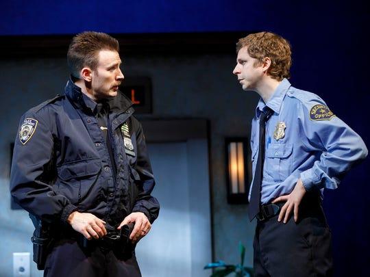 "Chris Evans and Michael Cera in ""Lobby Hero."""