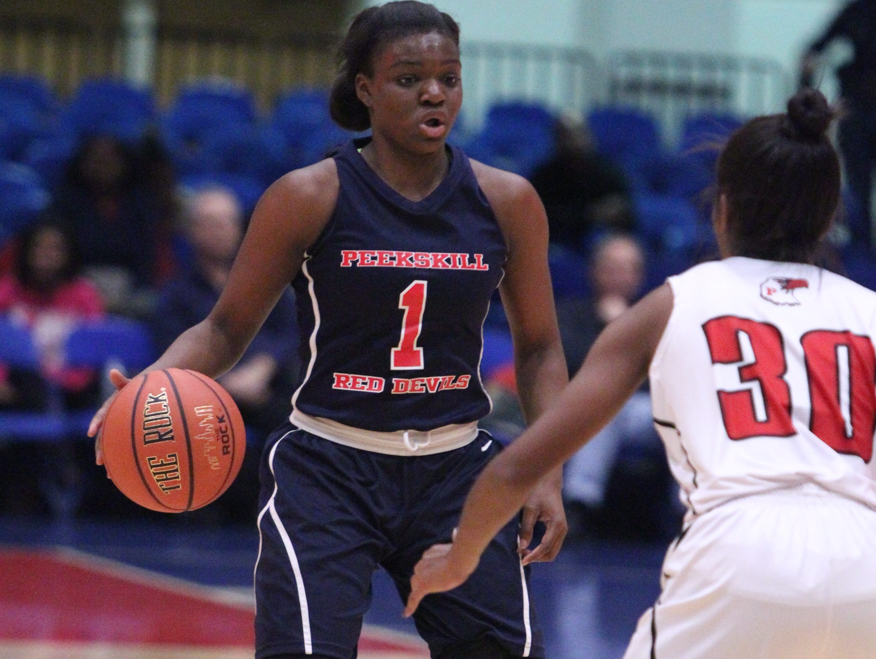 Peekskill beat Penfield 58-54 to win the Slam Dunk Tournament final at the Westchester County Center Dec. 29, 2015.
