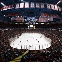 Mar 23, 2014; Detroit, MI, USA; General view during the second period of the game between the Detroit Red Wings and the Minnesota Wild at Joe Louis Arena.