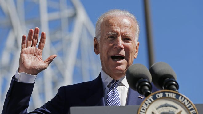 FILE - In this Feb. 17, 2016, file photo, Vice President Joe Biden speaks after touring the Port of New Orleans to commemorate the seventh anniversary of the American Recovery and Reinvestment Act in New Orleans. (AP Photo/Gerald Herbert, File)