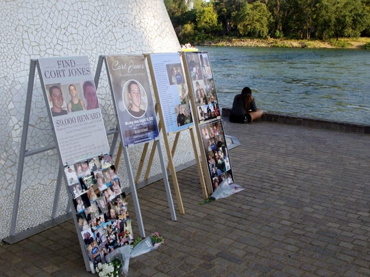 Family and friends of Cort Jones, Heather Cameron and Zach Wilson gathered under the Sundial Bridge in Redding on Saturday to remember the three who went missing from the Redding area.
