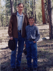 Roy Jeffs as a preteen with his father, Warren Jeffs, the president and prophet of the Fundamentalist Church of Jesus Christ of Latter Day Saints.