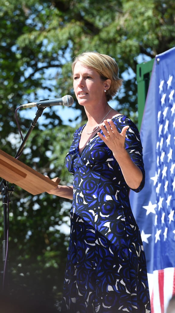 Zephyr Teachout speaks during her rally in New Paltz