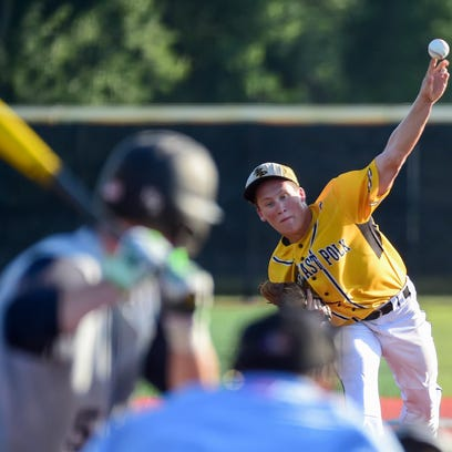 Southeast Polk Pitcher Thomas McLaughlin (14) fires in a pitch  on Monday, July 18, 2016, during the Substate baseball game between the Roosevelt Roughriders and the Southeast Polk Rams held at SEP High School.