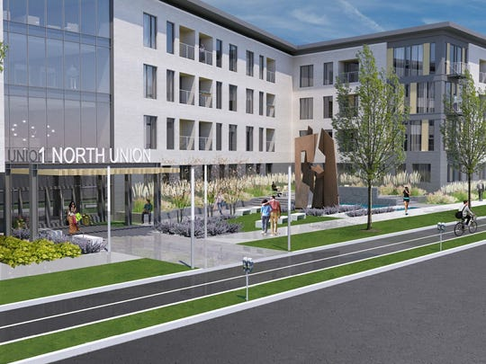 A mixed-use development with 117 studio, one- and two-bedroom apartments, retail/office space and underground parking by developers Morgan/Christa between East Avenue and Charlotte Street.