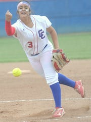 Joey D. Richards/Reporter-News Abilene Cooper's Camille Scott delivers a pitch in the first inning against Lubbock Cooper. The Lady Pirates rallied for six runs in their last at-bat to beat Abilene Cooper 12-9 in the District 4-5A game Friday at Cougar Diamond.