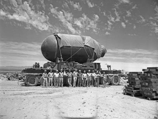 "Jumbo - The 25-foot-long, 10-foot-wide concrete encasement, which was nicknamed ""Jumbo"" was never used in the testing of the atomic bomb. Yet, one story associated with the naming of the Trinity site has an Army major saying it would take the holy trinity and a miracle to get the ""jug"" from the Santa Fe Railway to the test site."