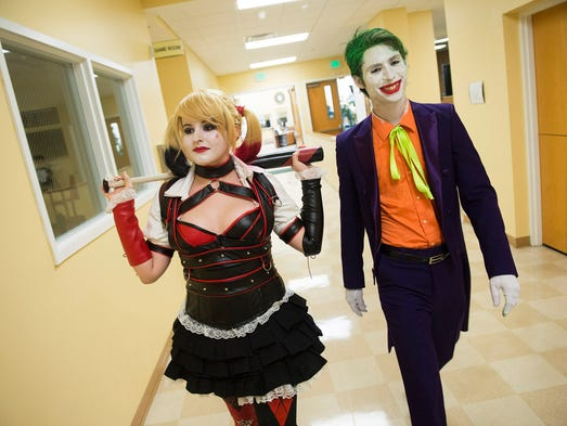 Kayla Hunt, (left) of Port St. Lucie, dressed as comic
