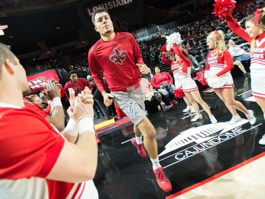Larenz Stalcup takes the court as the Cajuns take on