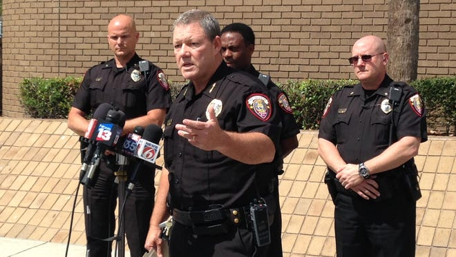 Melbourne Police Chief Steve Mimbs speaks during the press conference in front of the police headquarters.