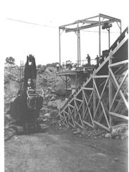 The quarry in production is seen in this circa 1920s